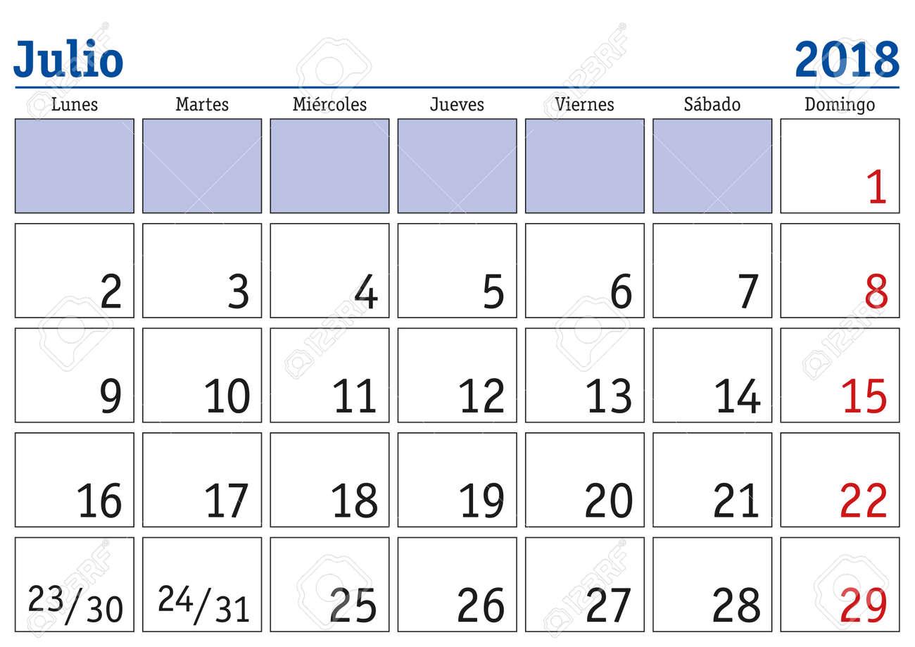 Mes De Julio Calendario.Mes De Julio En Un Ano 2018 Calendario De Pared En Espanol Julio 2018 Calendario 2018