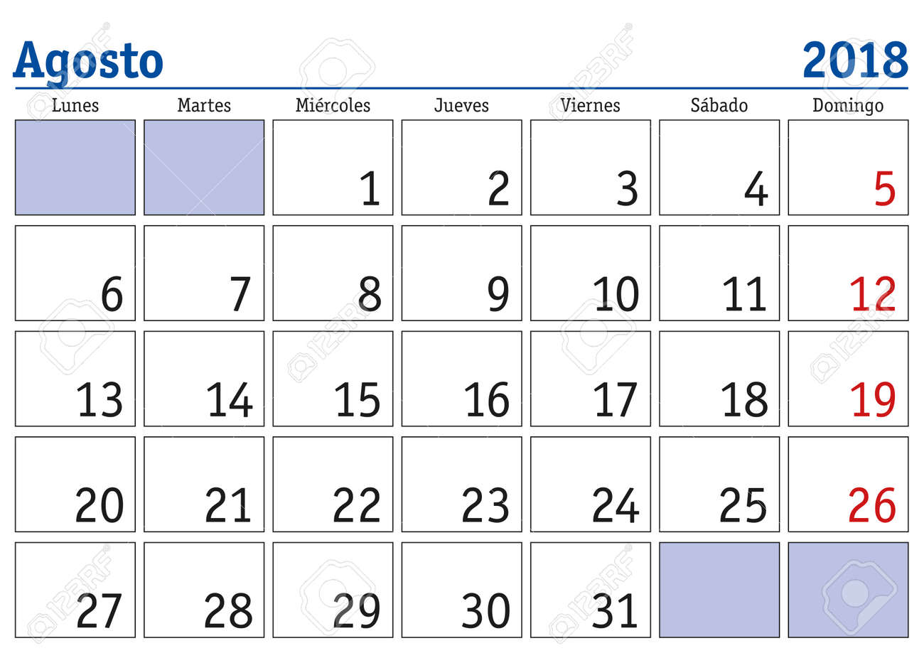 Calendario 2o18.August Month In A Year 2018 Wall Calendar In Spanish Agosto
