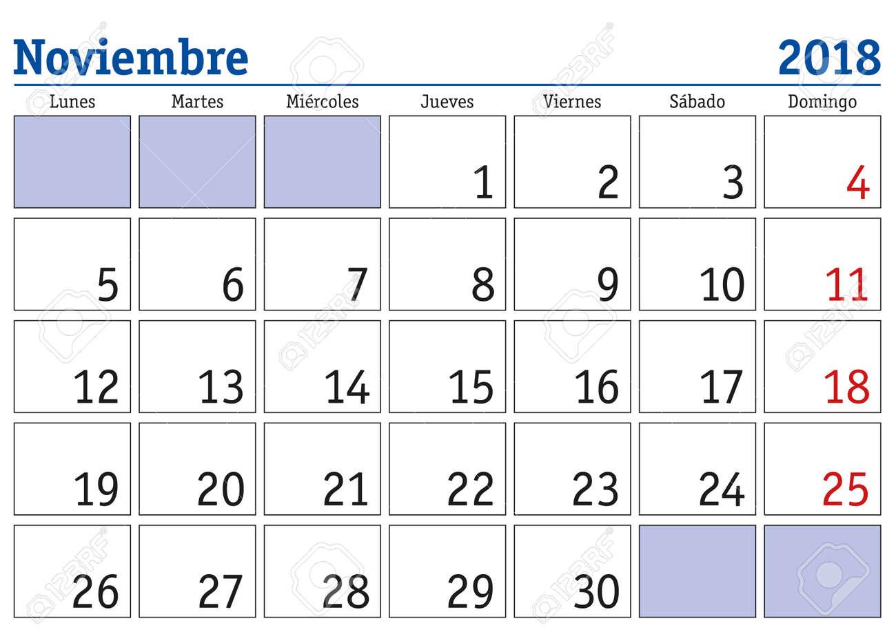 Mes De Noviembre En Un Año 2018 Calendario De Pared En Español