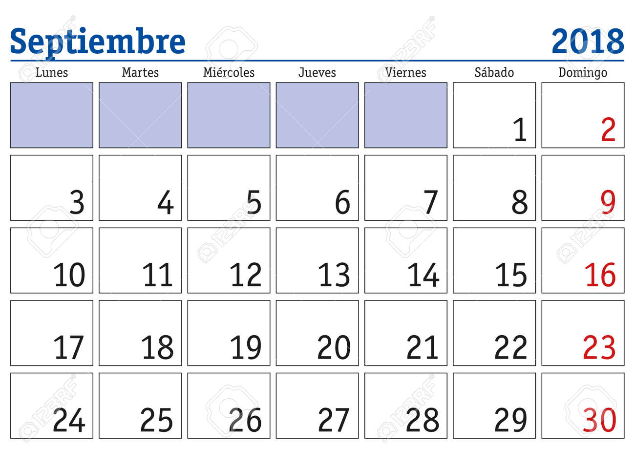september month in a year 2018 wall calendar in spanish septiembre 2018 calendario 2018