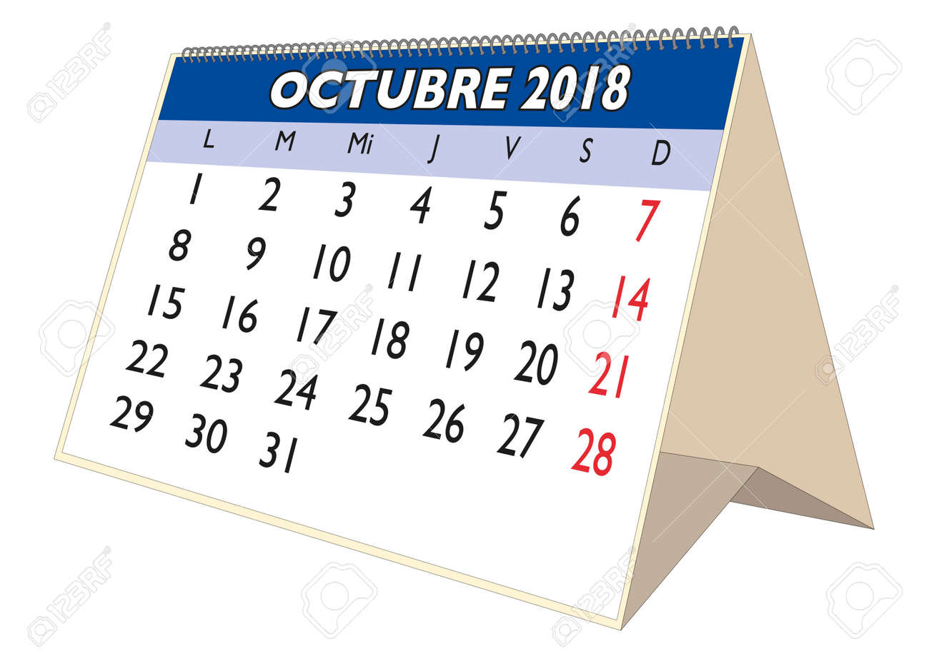 october sheet in an spanish desk calendar for year 2018 monthly