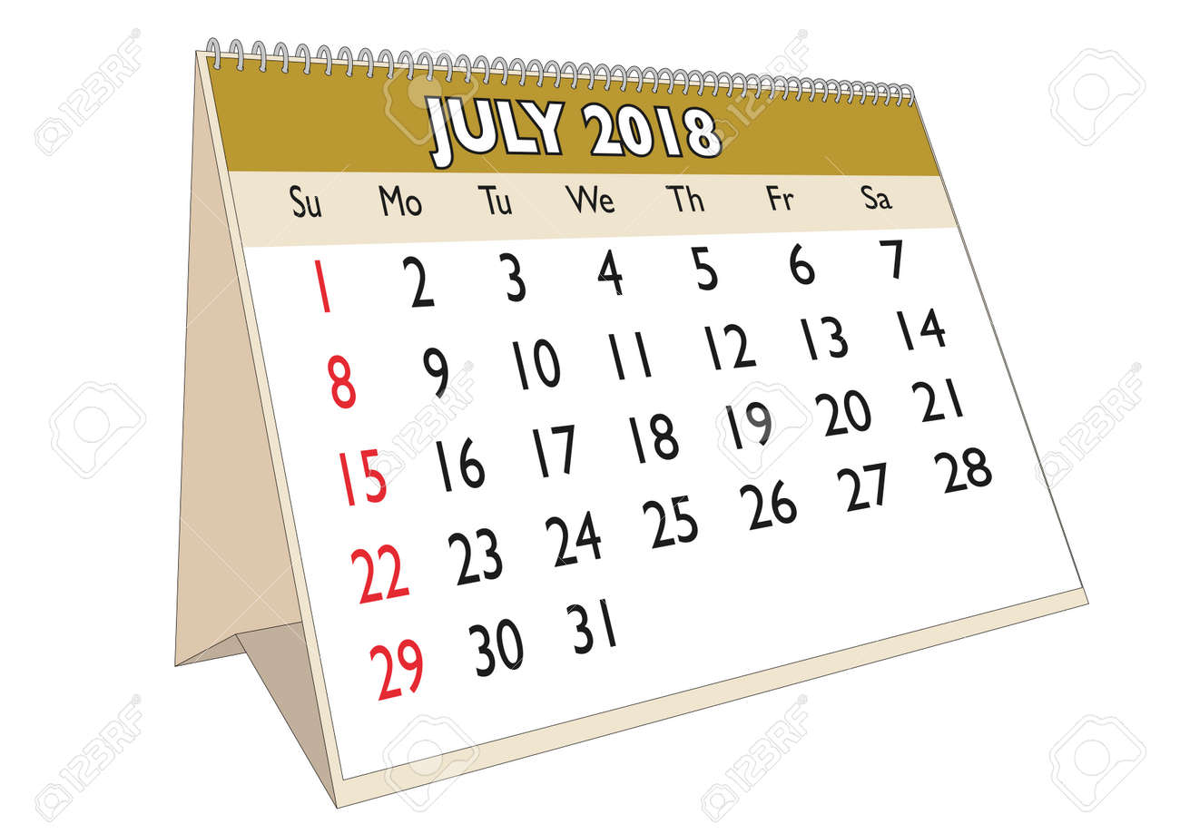 Mes De Julio Calendario.2018 Mes De Julio En Un Calendario De Escritorio En Ingles La Semana Comienza El Domingo