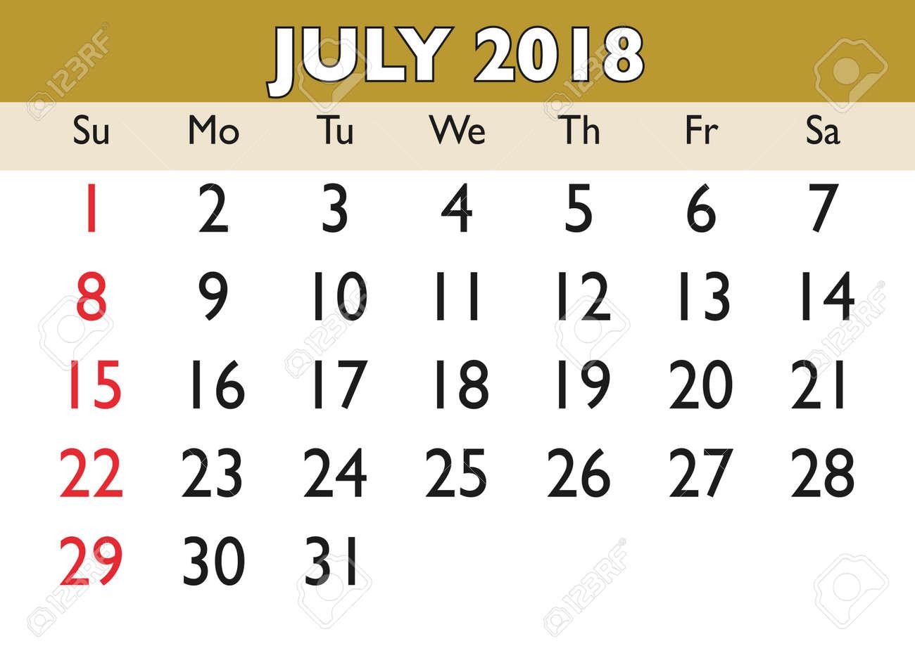 2018 calendar july month vector printable calendar monthly scheduler week starts on sunday