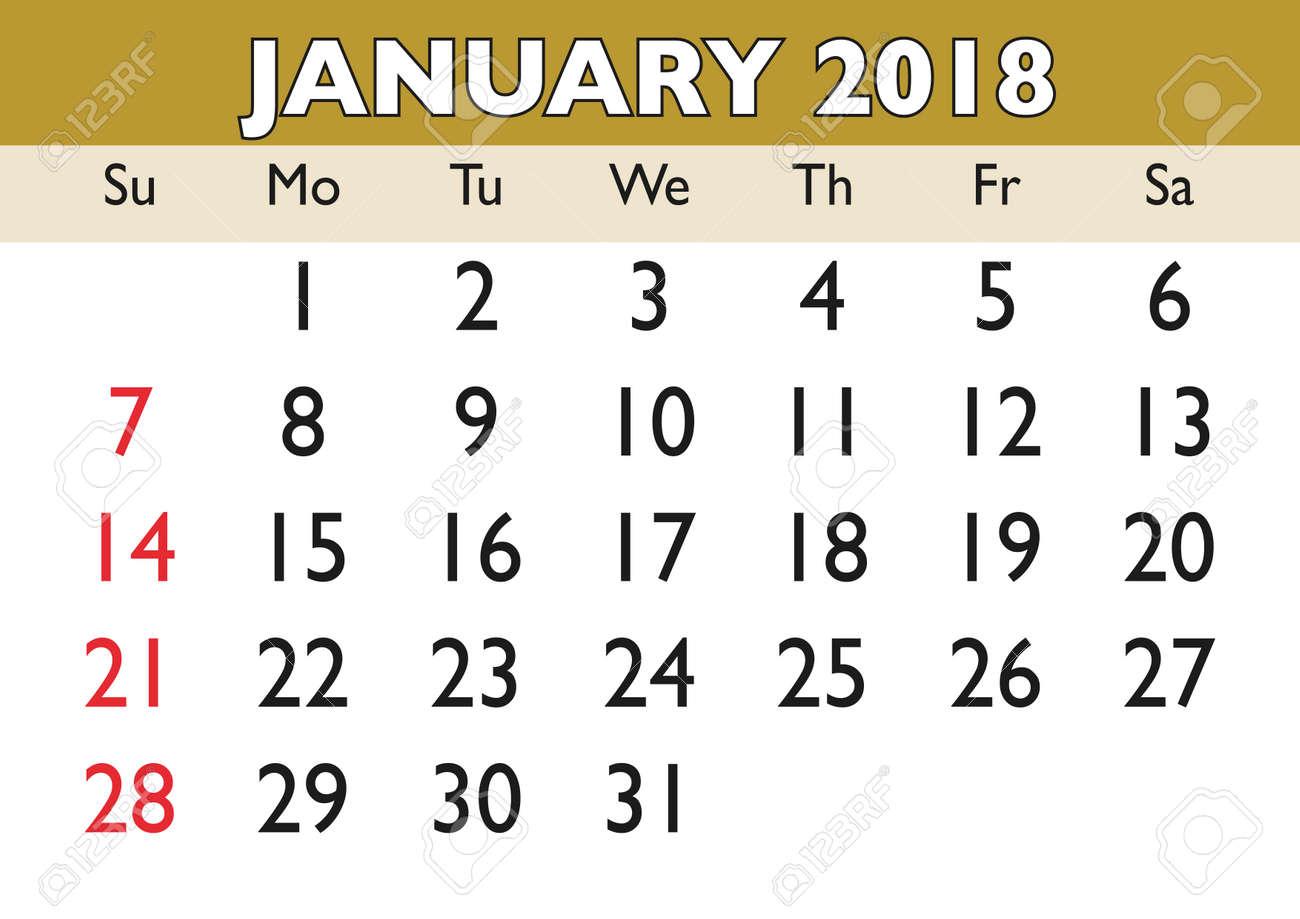 2018 Calendar January Month Vector Printable Calendar Monthly