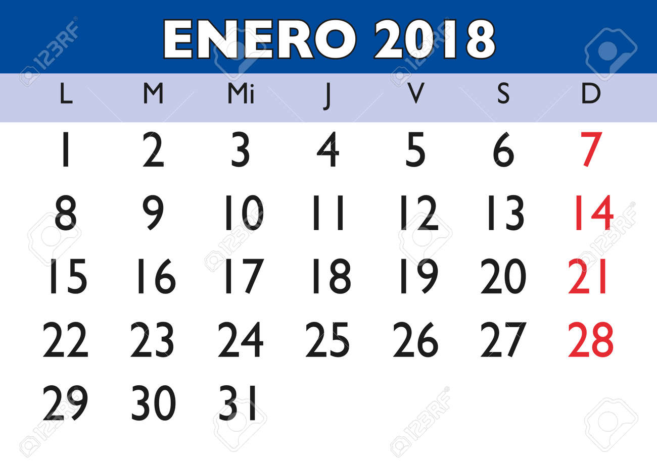 January Month In A Year 2018 Wall Calendar In Spanish. Enero ...