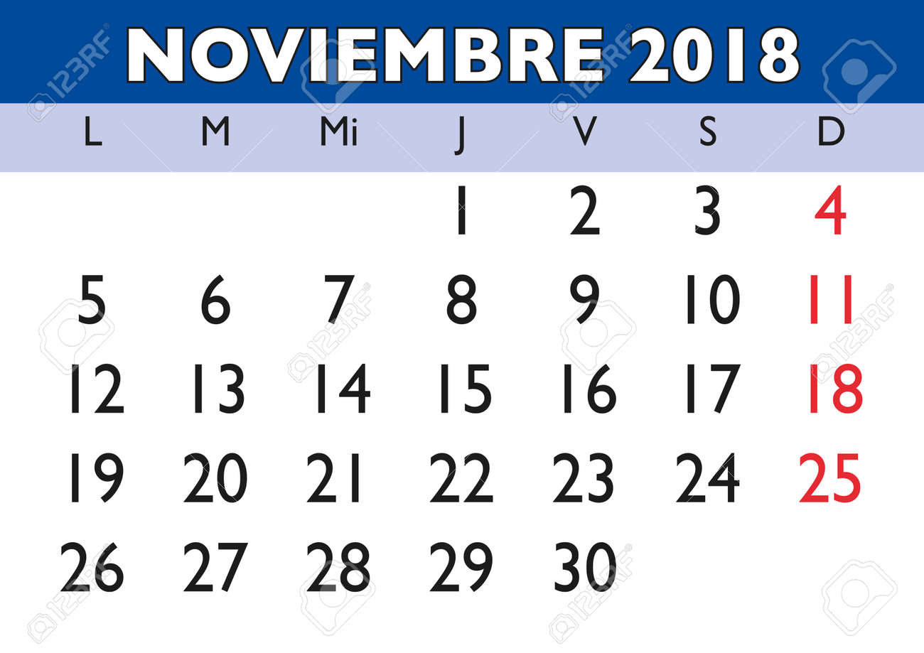 スペイン語で 2018 年壁掛けカレンダーの 11 月2018 年 11 月