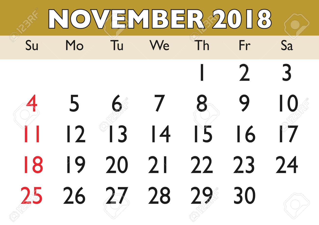 2018 calendar november month vector printable calendar monthly scheduler week starts on sunday