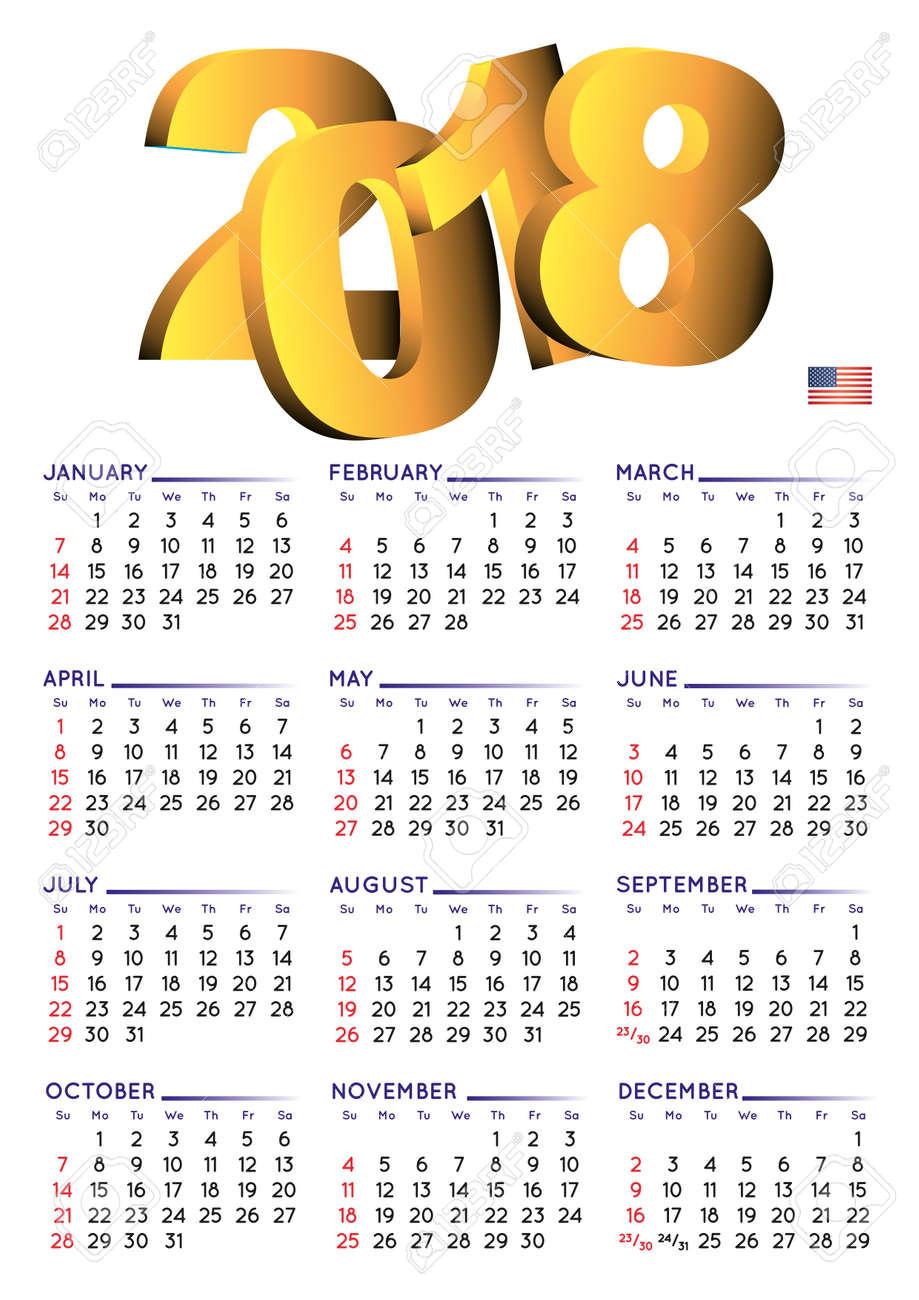 Semana Calendario.Calendario 2018 En Ingles Calendario Del Ano 2018 Calendario 2018 La Semana Comienza El Domingo Formato Ee Uu Fondo Blanco