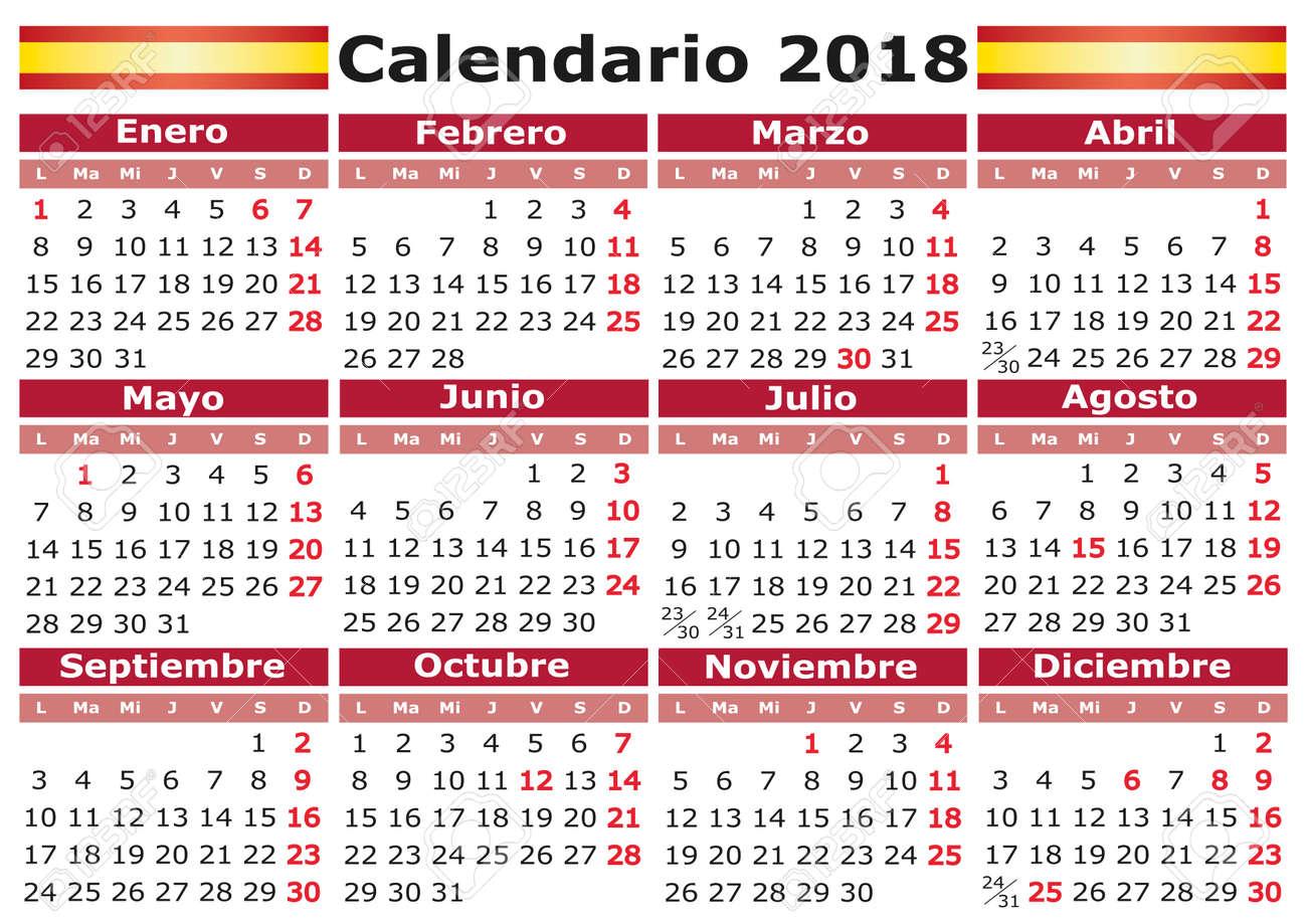Calendar Days Of The Week In Spanish.Calendario 2018 Spanish Calendar With Festive Days Pocket Calendar