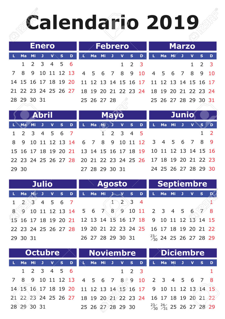 Calendario Vectorizado.2019 Vector Calendar In Spanish Easy For Edit And Apply Calendario