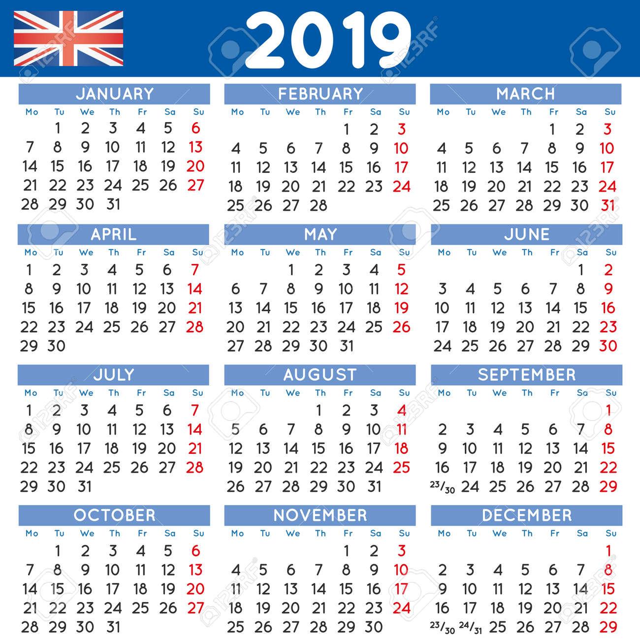 Calendar 2019 Uk 2019 Elegant Squared Calendar English UK. Year 2019 Calendar
