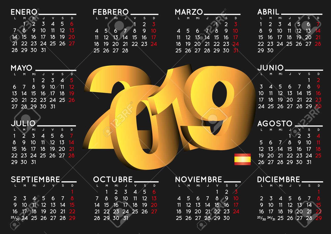 Calendario D.2019 Elegant Black Calendar In Spanish Year 2019 Calendar Calendar
