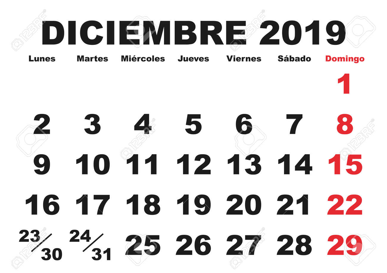 december month in a year 2019 wall calendar in spanish diciembre 2019 calendario 2019