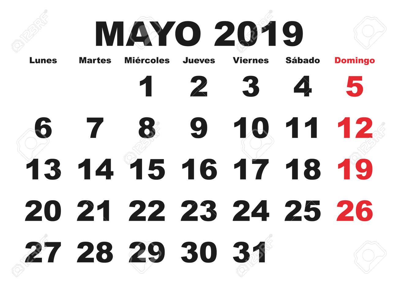 Calendario 18.May Month In A Year 2019 Wall Calendar In Spanish Mayo 2019