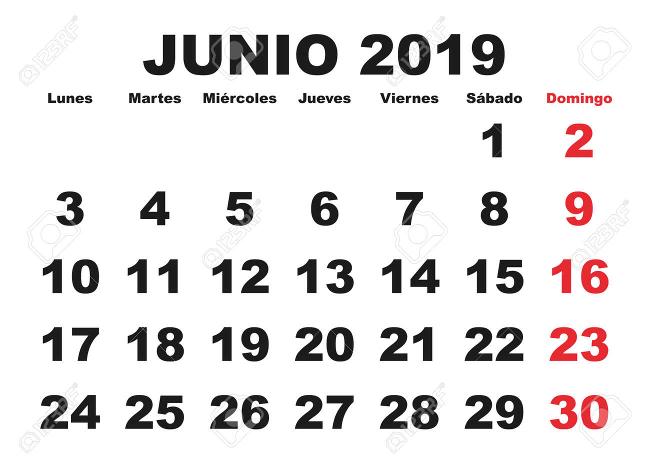 Junio 2019 Calendario.June Month In A Year 2019 Wall Calendar In Spanish Junio 2019