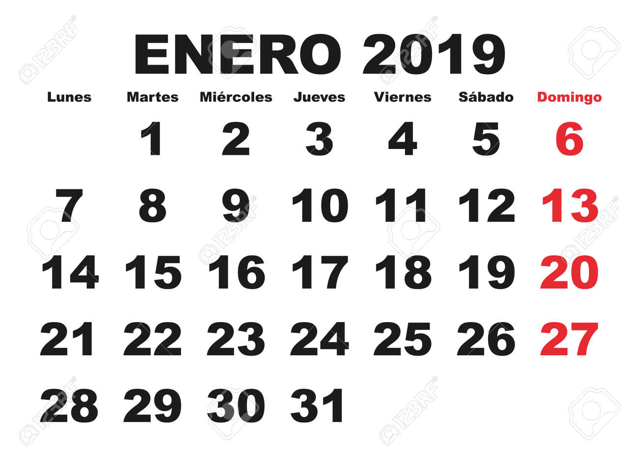 Calendario 18.January Month In A Year 2019 Wall Calendar In Spanish Enero
