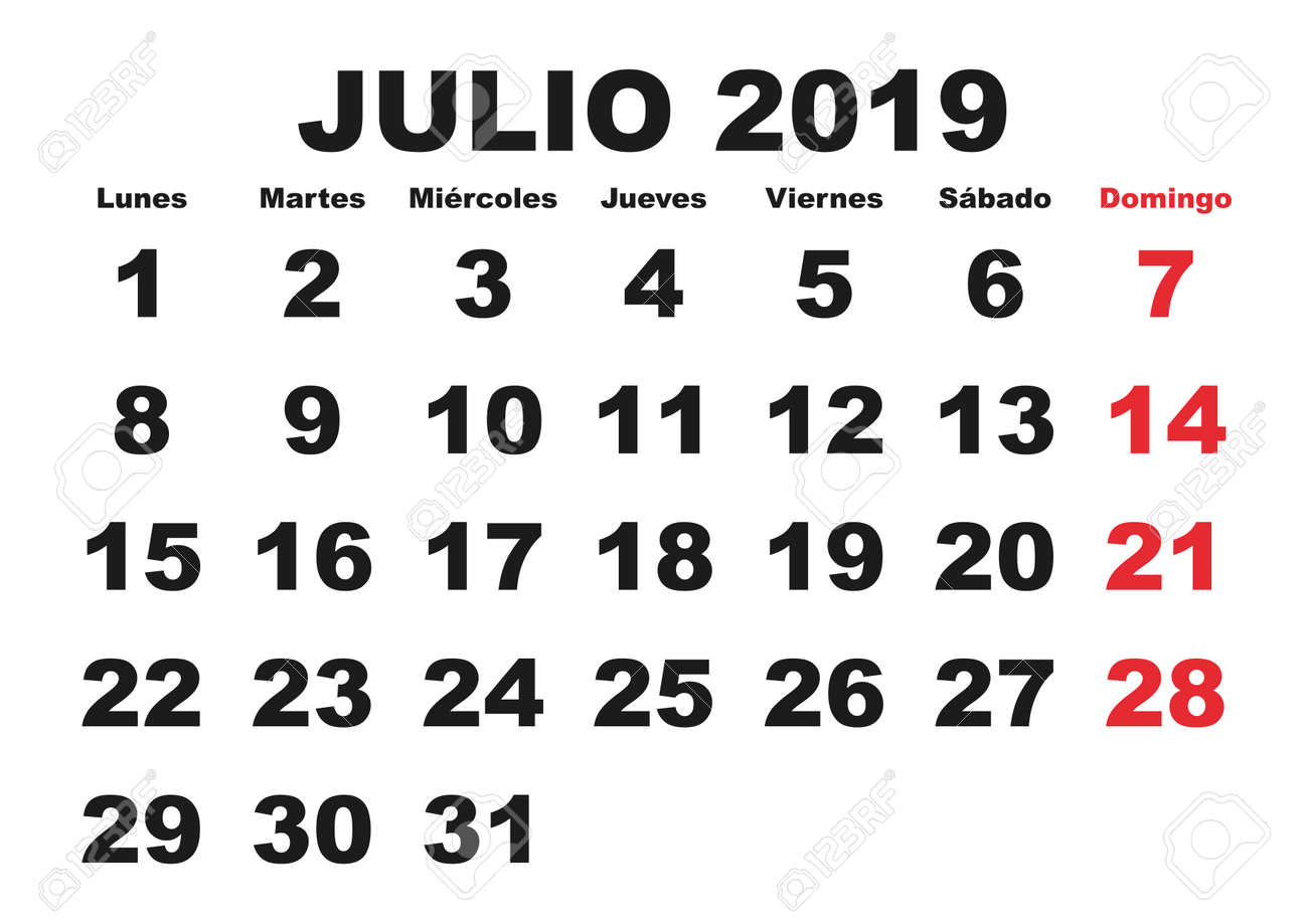 Calendario Julio 2019 Vector.July Month In A Year 2019 Wall Calendar In Spanish Julio 2019
