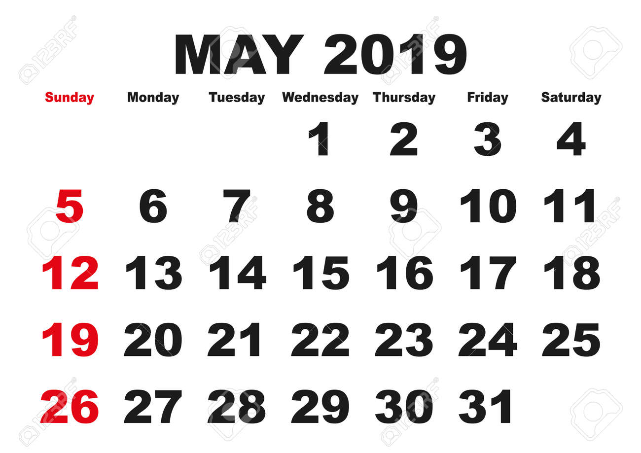 picture relating to Printable May Calendars known as 2019 calendar May possibly thirty day period. Vector printable calendar. Month-to-month scheduler