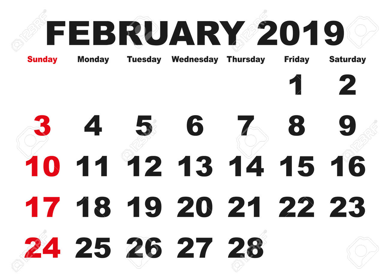 graphic about Feb Calendar Printable identified as 2019 calendar February thirty day period. Vector printable calendar. Regular monthly..