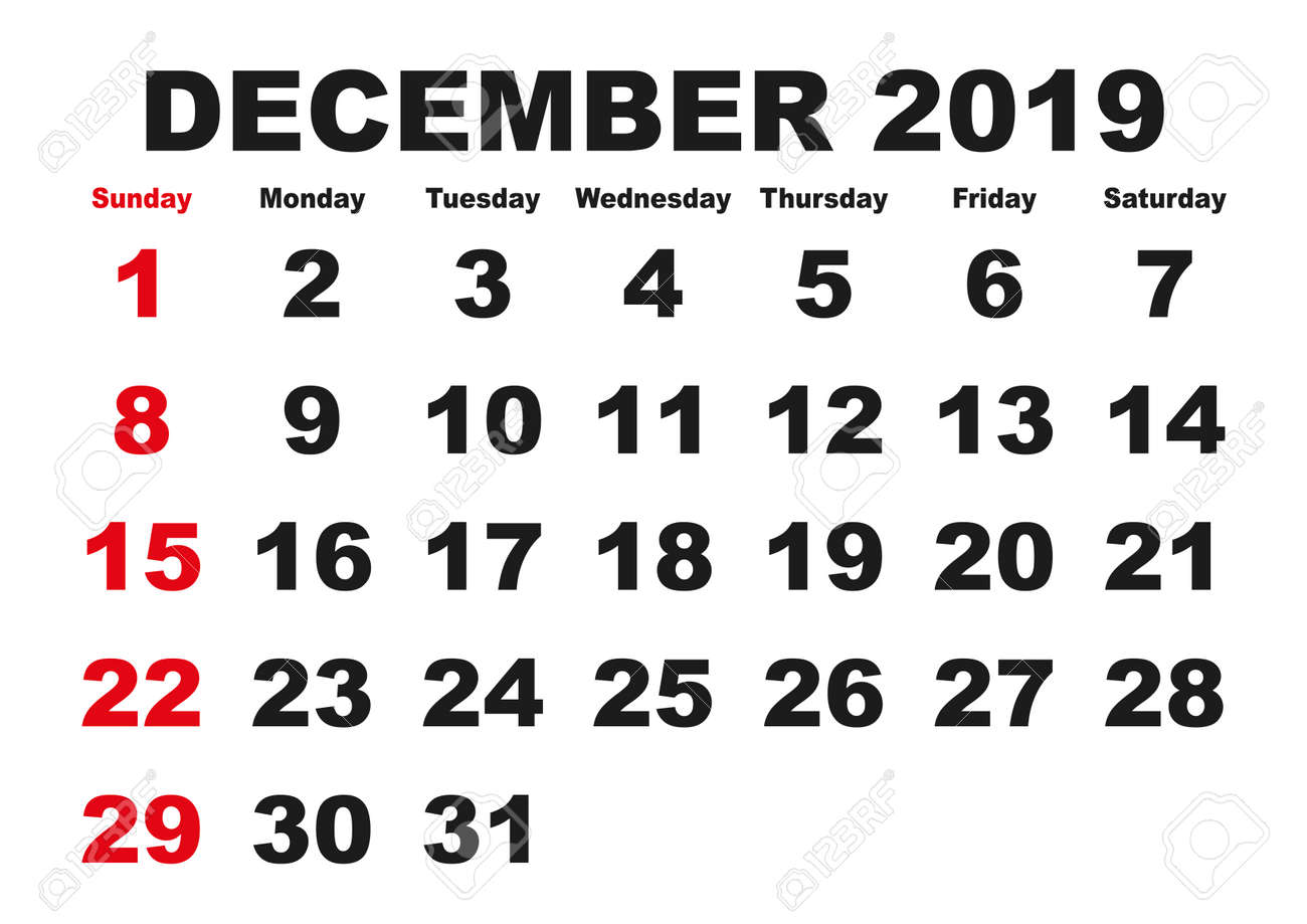 photo regarding Printable Monthly Calendar December known as 2019 calendar December thirty day period. Vector printable calendar. Month-to-month..