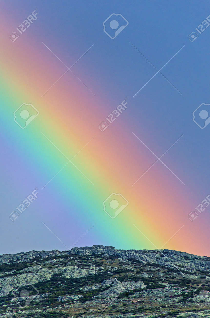Real Rainbow Over The Mountains After Storm Arco Iris Or Arcoiris Stock Photo Picture And Royalty Free Image Image 102794801