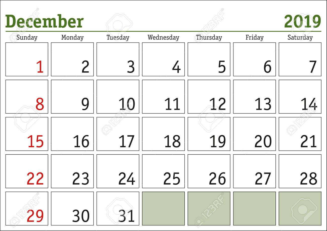 photo about Printable Calendar Monthly identified as Straightforward electronic calendar for December 2019. Vector printable calendar