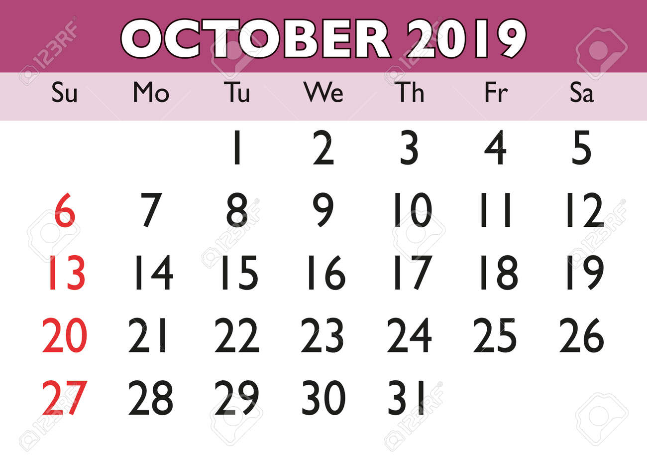 image relating to Printable Calendar October called 2019 calendar Oct thirty day period. Vector printable calendar. Regular..