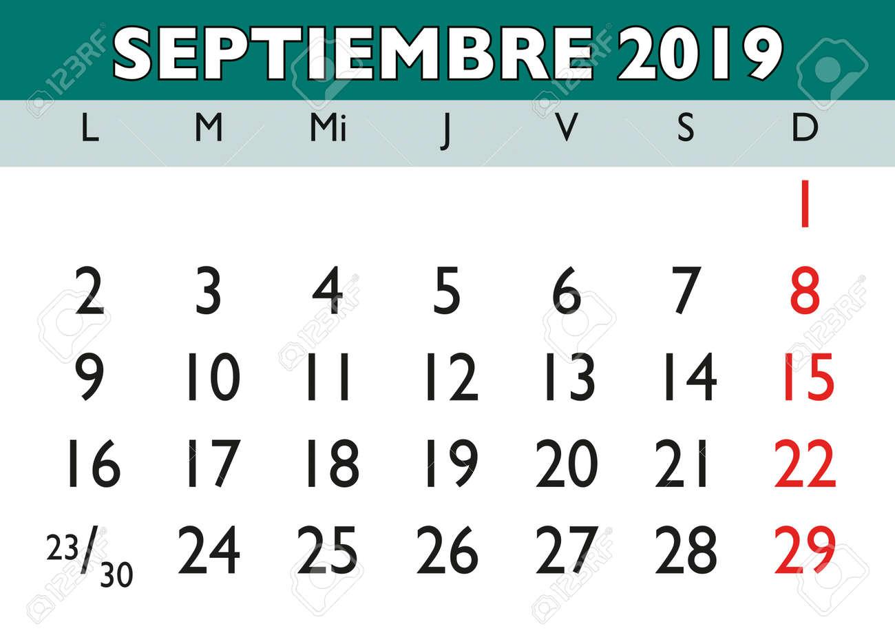 Calendario Vectorizado.September Month In A Year 2019 Wall Calendar In Spanish Septiembre
