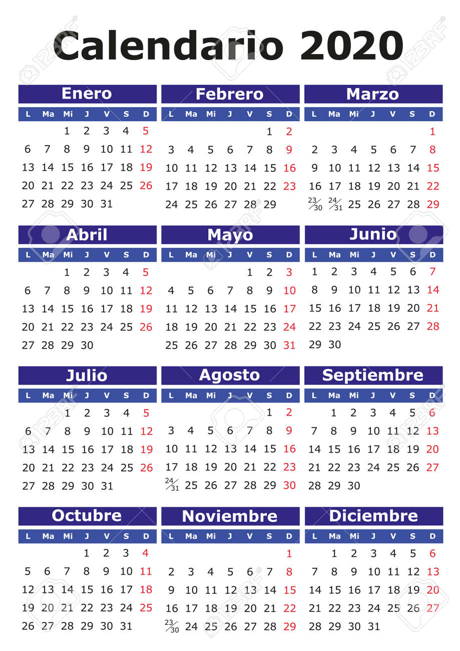 Calendario Verticale 2020.2020 Vector Calendar In Spanish Easy For Edit And Apply Calendario