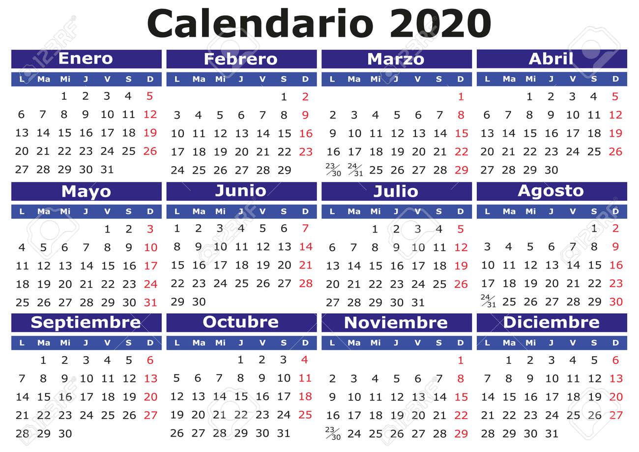 Vector De Calendario 2020.2020 Vector Calendar In Spanish Easy For Edit And Apply Calendario