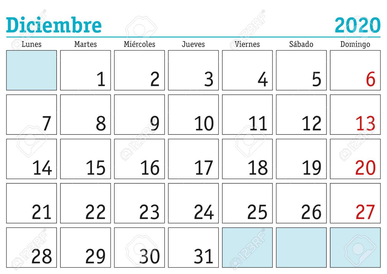 December month in a year 2020 wall calendar in spanish. Diciembre 2020. Calendario 2020 - 134865475