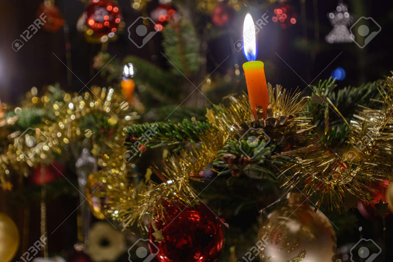 Burning Christmas Tree.Romantic Decorated Christmas Tree With Christmas Baubles And