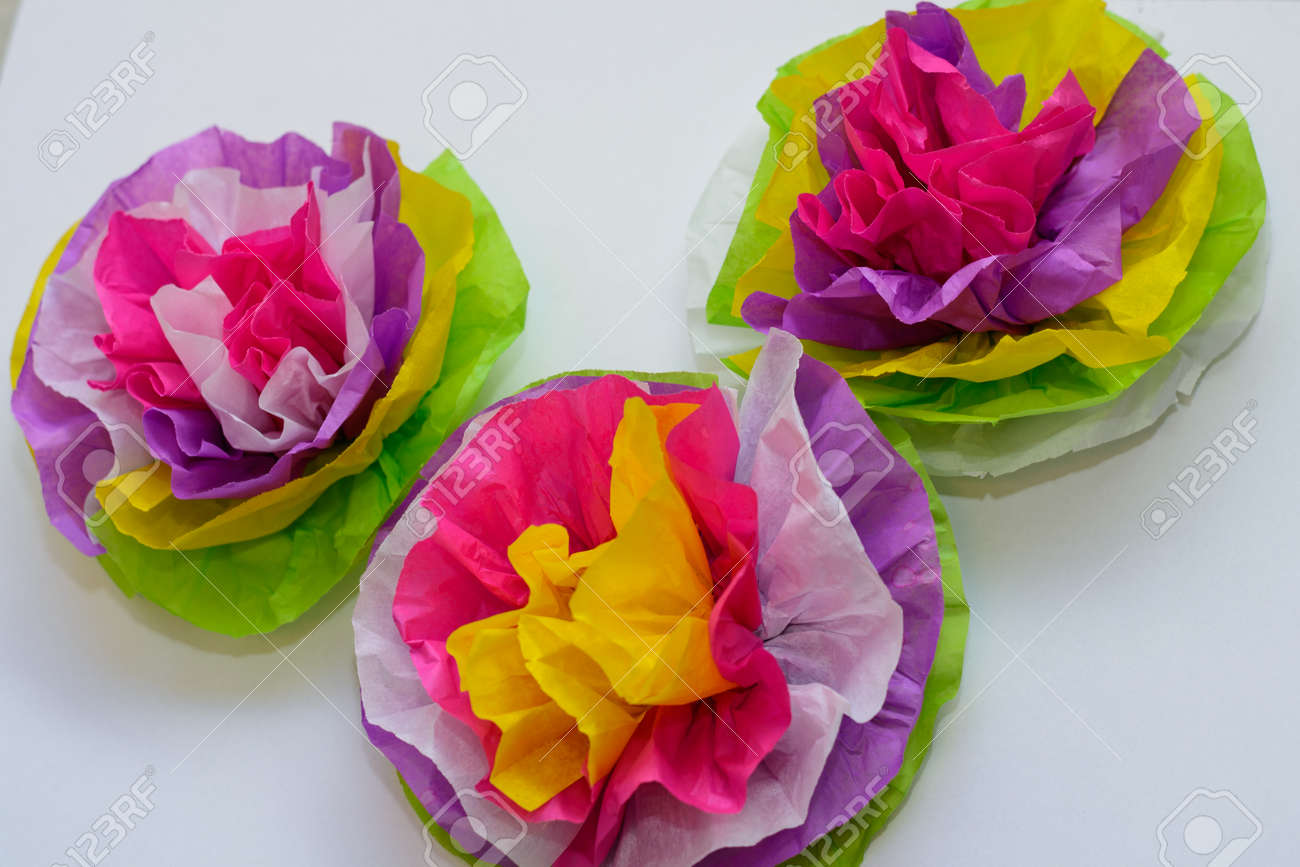 Flowers Made Of Tissue Paper In Bright Colorful Colors Stock Photo