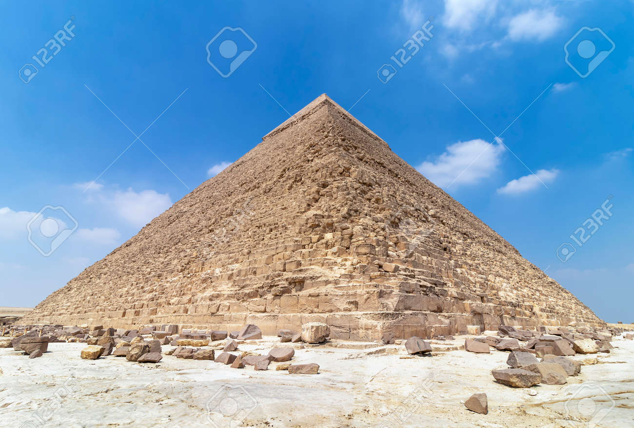 The Pyramid of Khafre or of Chephren, is the second-tallest and second-largest of the Ancient Egyptian Pyramids of Giza and the tomb of the Fourth-Dynasty pharaoh Khafre (Chefren) - 143826257