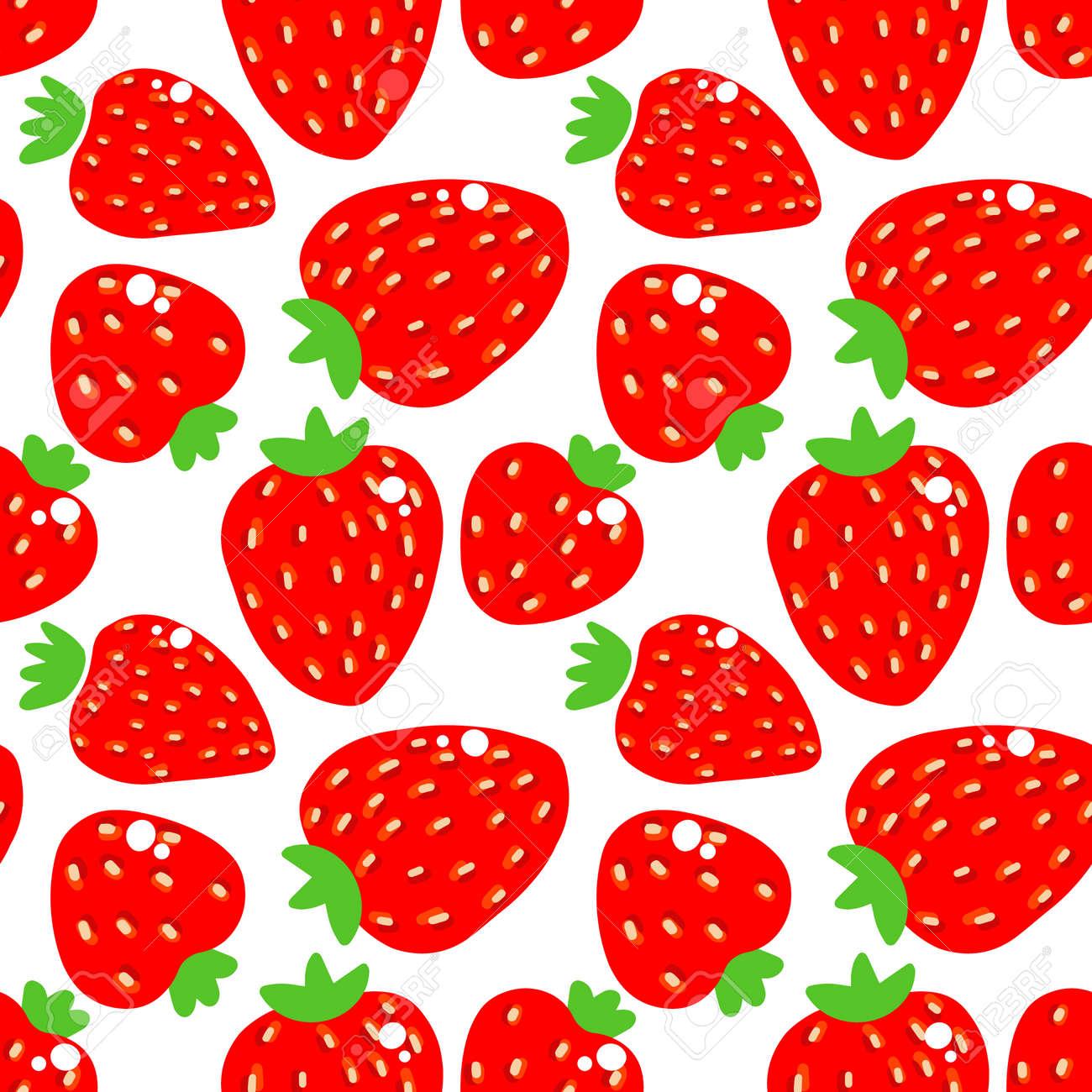 seamless strawberry pattern vector illustration - 142957035