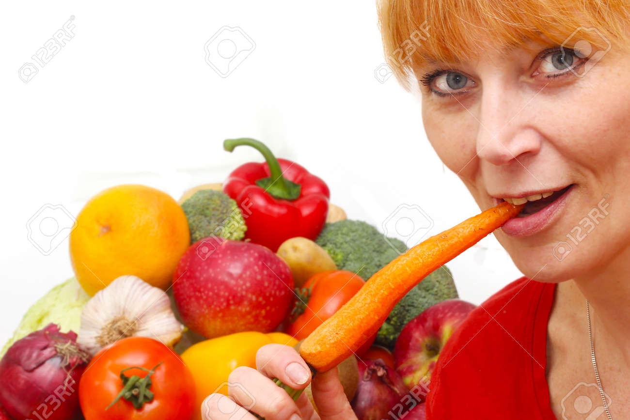 fresh vegetables isolated and woman on white background Stock Photo - 13086272