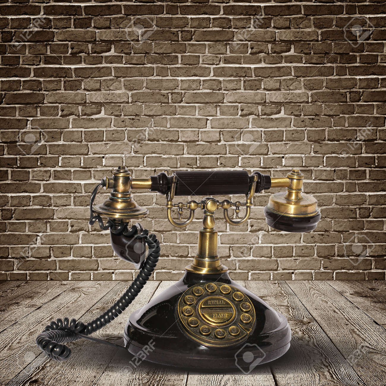 Vintage telephone over the wall Stock Photo - 21420533