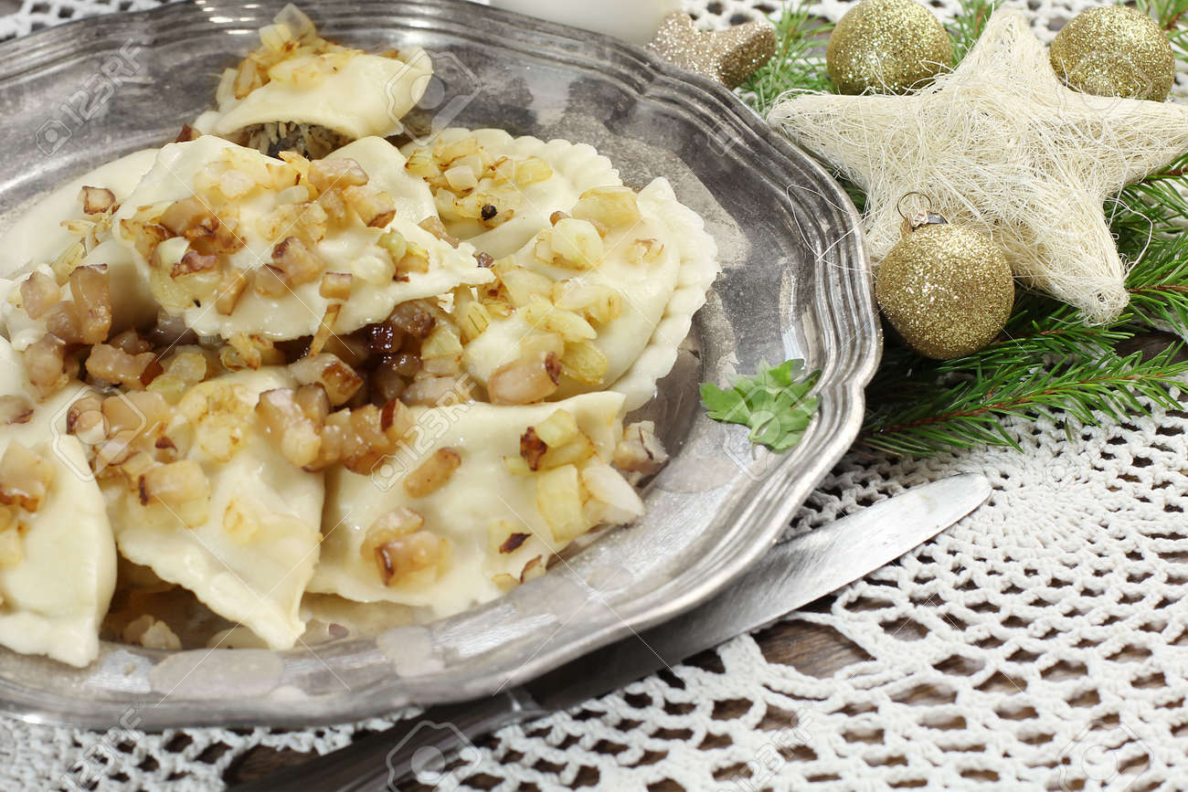 homemade pierogi  ravioli  with mushroom and sauerkraut  Traditional polish christmas eve Stock Photo - 23107117