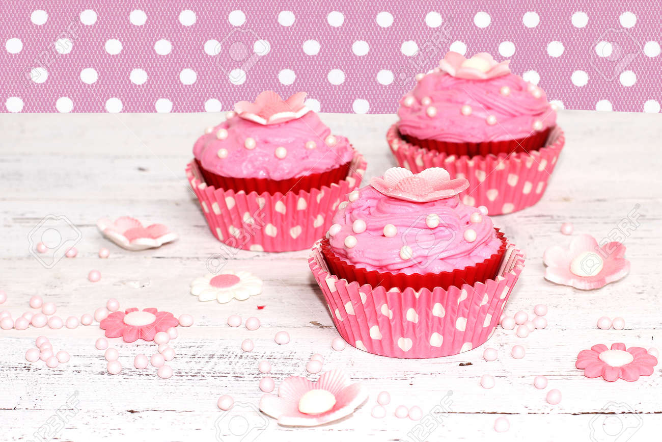 Pink Flower Cupcakes Stock Photo Picture And Royalty Free Image