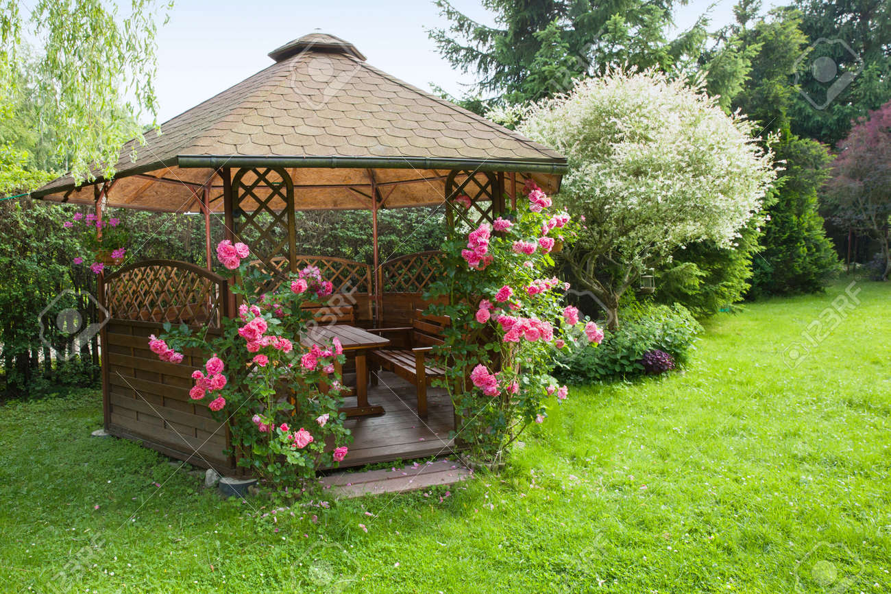Outdoor Wooden Gazebo With Roses And Summer Landscape Background Stock Photo 60075823
