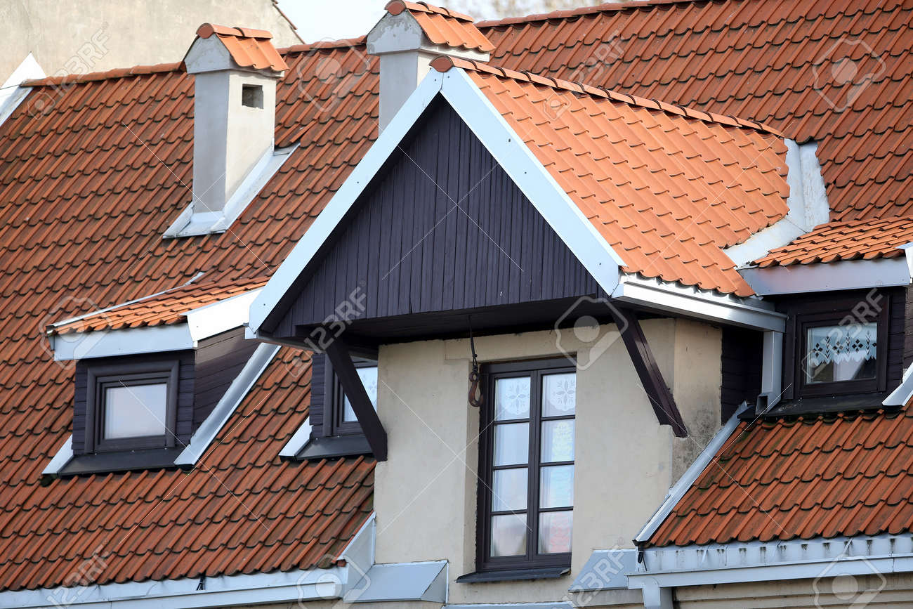 New red roof tile background. Architecture Lithuania - 144674829