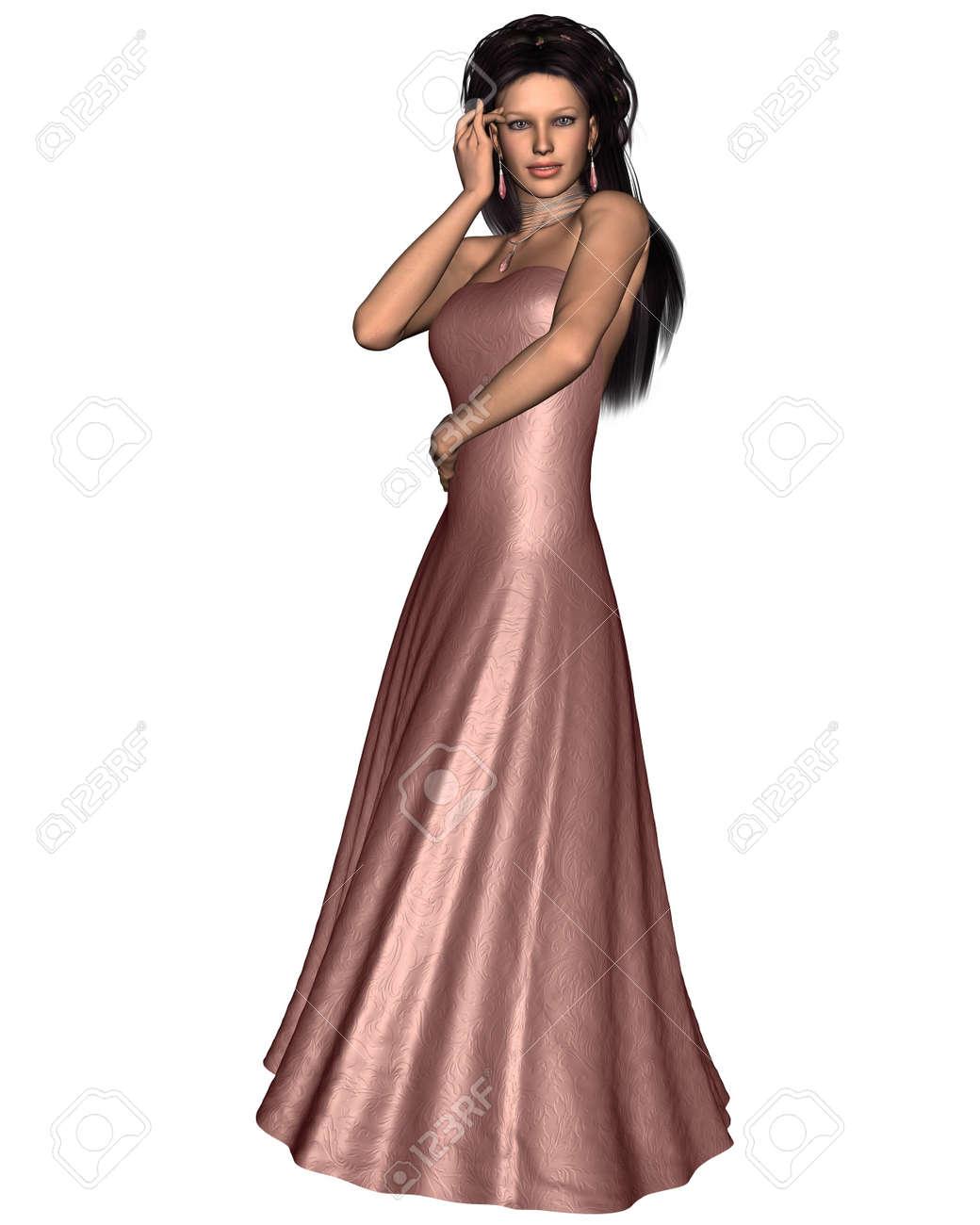 Beautiful Dark Haired Woman Wearing A Pink Silk Evening Dress ...