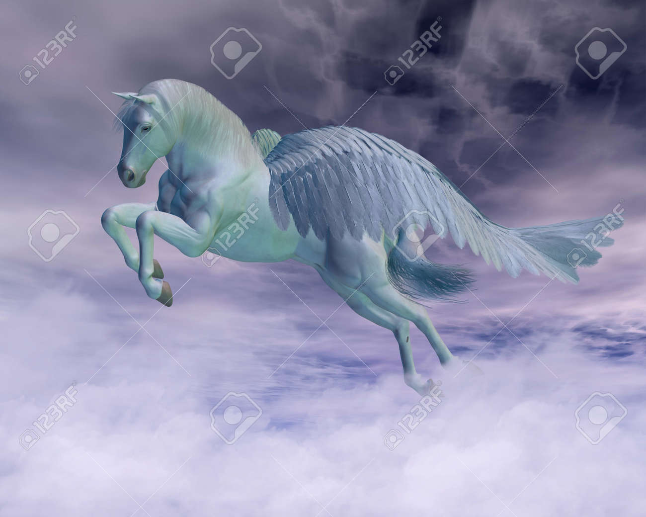 pegasus the flying horse of greek mythology galloping through