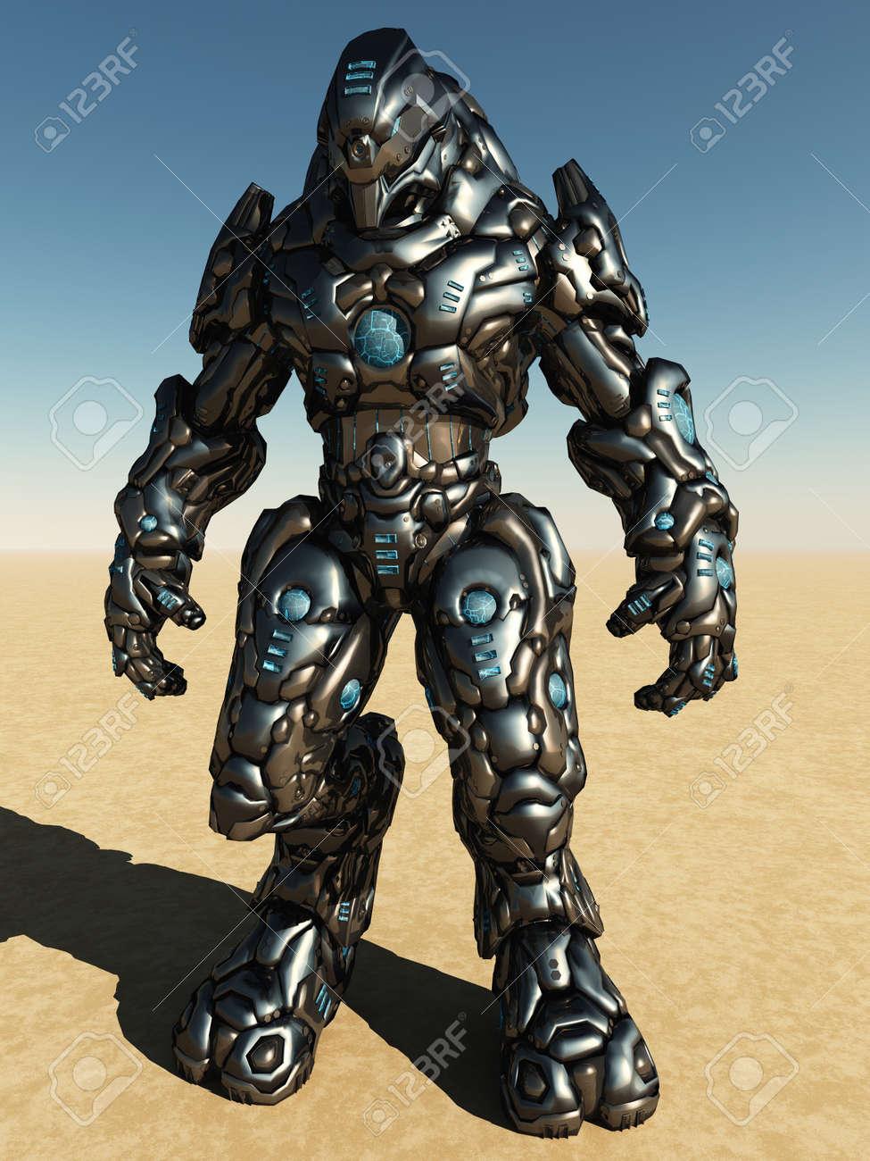 Futuristic science fiction battle droid in a desert landscape, 3d digitally rendered illustration Stock Illustration - 12860485