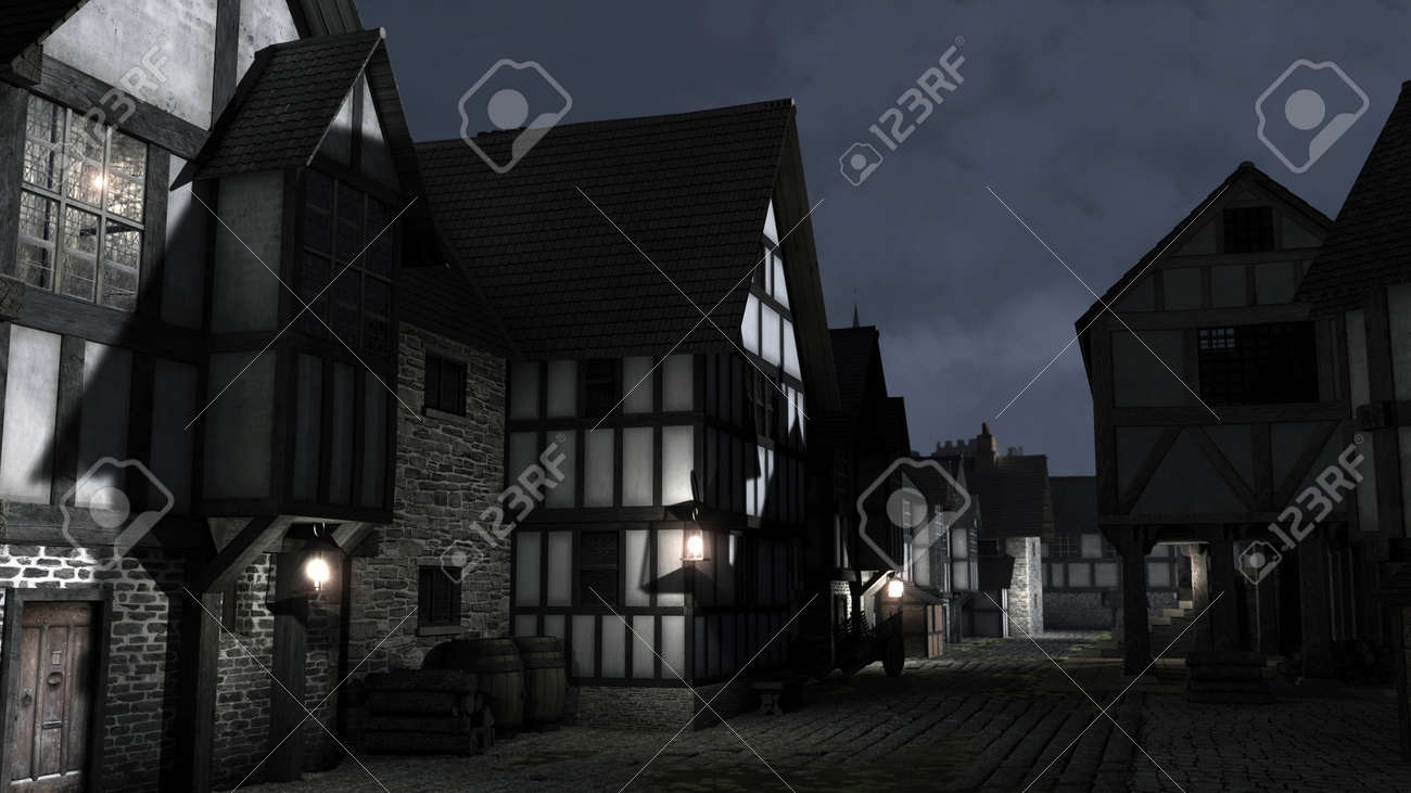 Street Scene at night set in a European town during the Middle Ages or Medieval period with half-timbered houses and market hall, 3d digitally rendered illustration Stock Illustration - 13545406