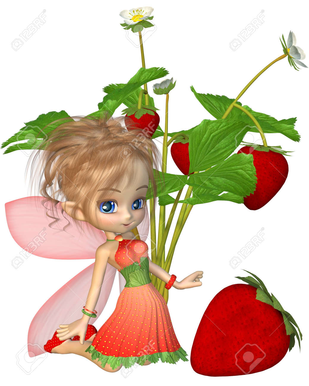 cute toon strawberry fairy with strawberry plant and fruit 3d