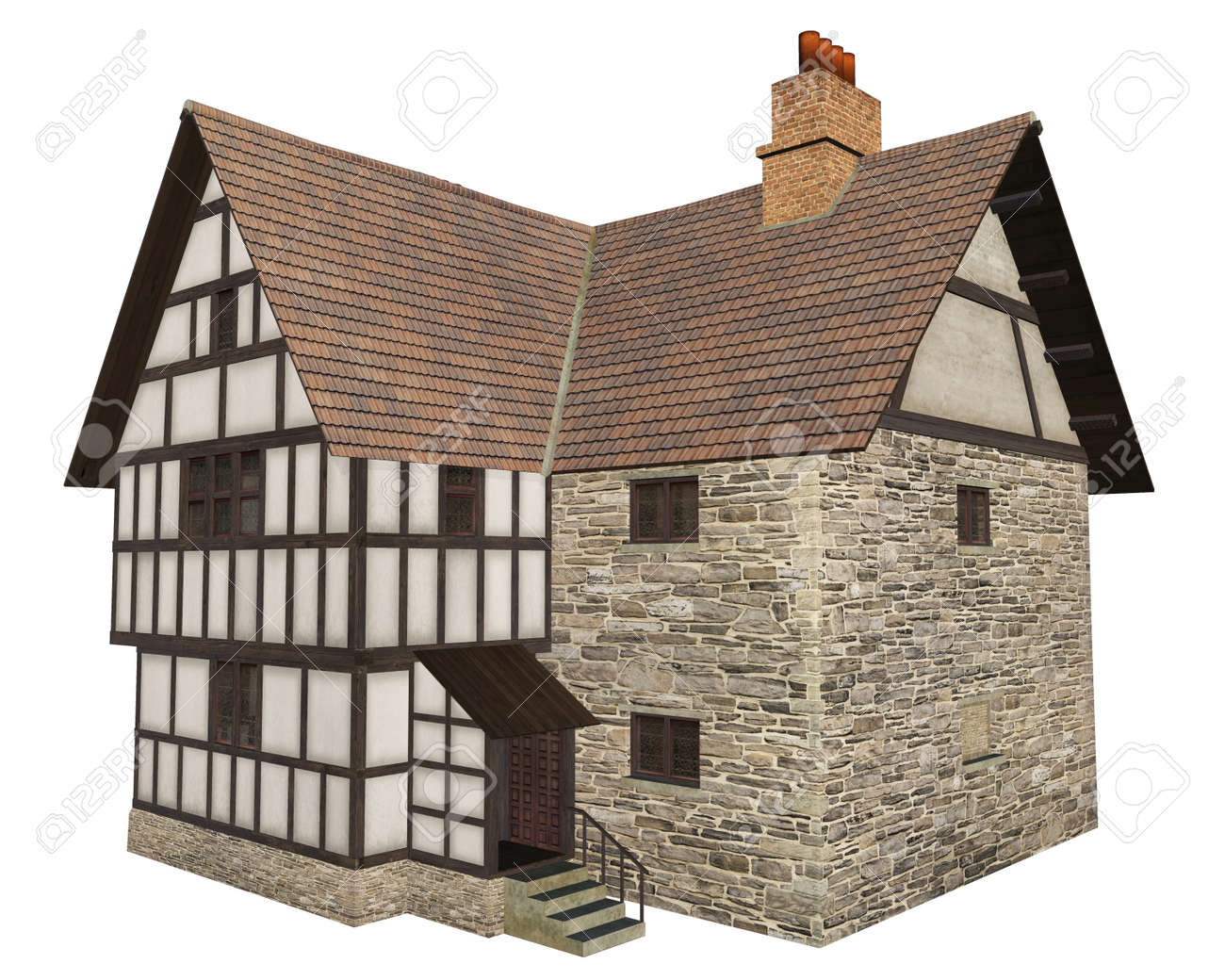 Stone and half-timbered European Medieval country house isolated on a white background, 3d digitally rendered illustration Stock Illustration - 14239439
