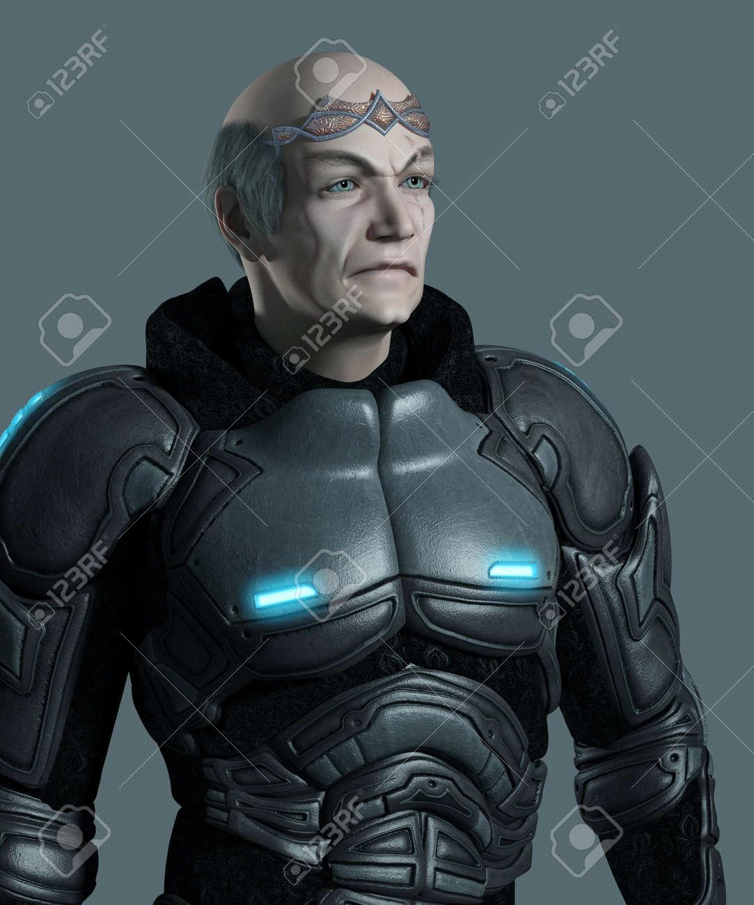Votación cargos del Estado Mayor 14378699-Retrato-de-un-anciano-comandante-marine-espacial-futurista-con-armadura-y-diadema-3d-rindi-la-ilustr-Foto-de-archivo
