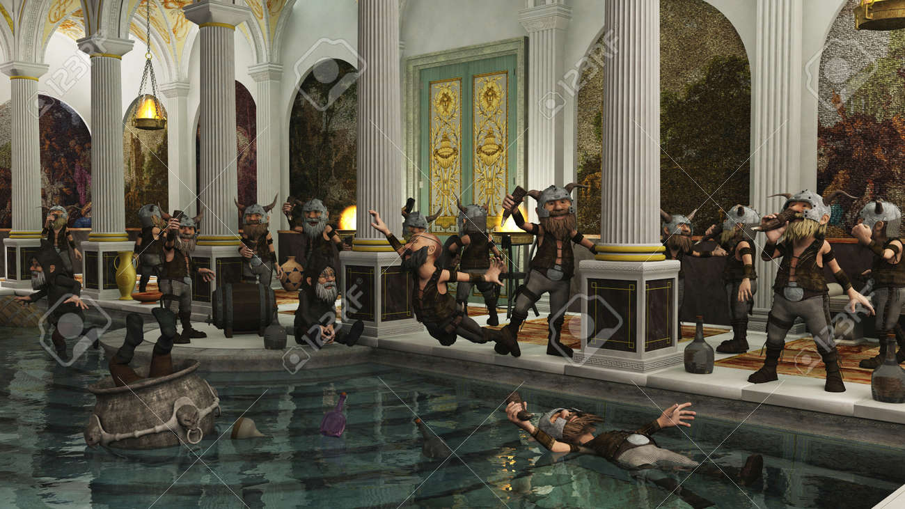 Toon Viking Dwarf Horde partying in a Roman bath house, 3d digitally rendered illustration Stock Illustration - 16245774