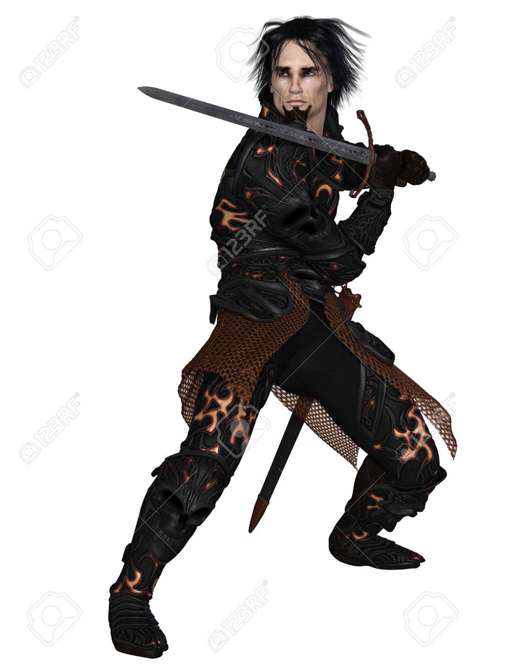 Joueur: Shy Ronnie 17242596-dark-fantasy-guerrier-chevalier-en-armure-cr%C3%A2ne-noir-tenant-une-%C3%A9p%C3%A9e-3d-num%C3%A9riquement-rendu-illustration